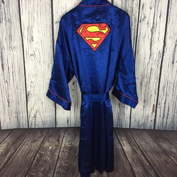 f381d8dcdd Men s DC Comics SUPERMAN Blue Satin Robe